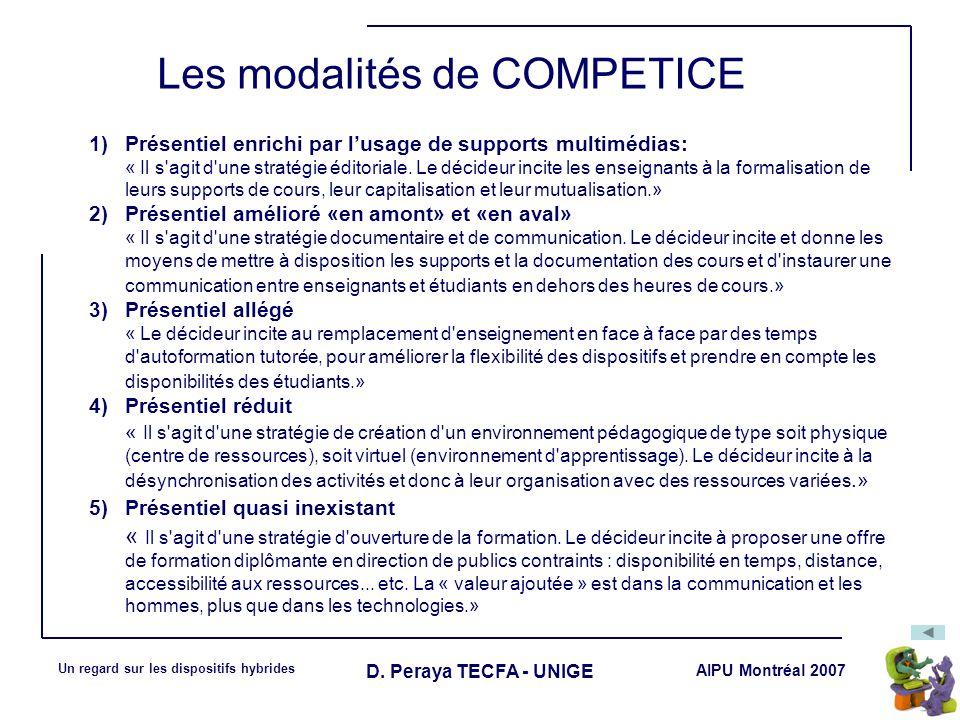 Les modalités de COMPETICE