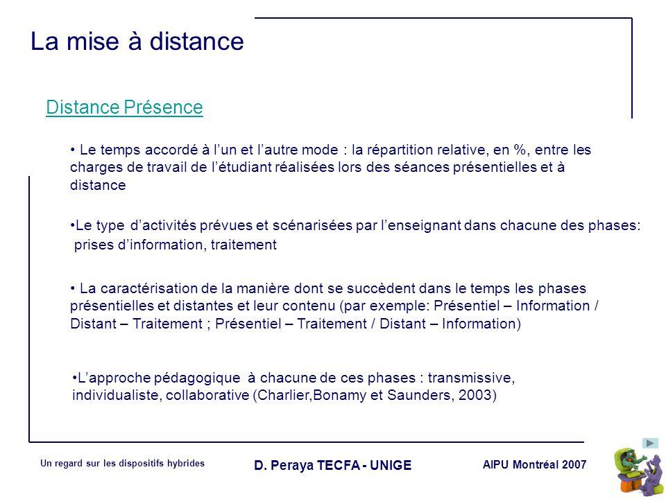 La mise à distance Distance Présence