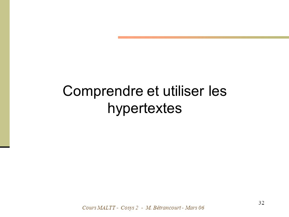 Comprendre et utiliser les hypertextes