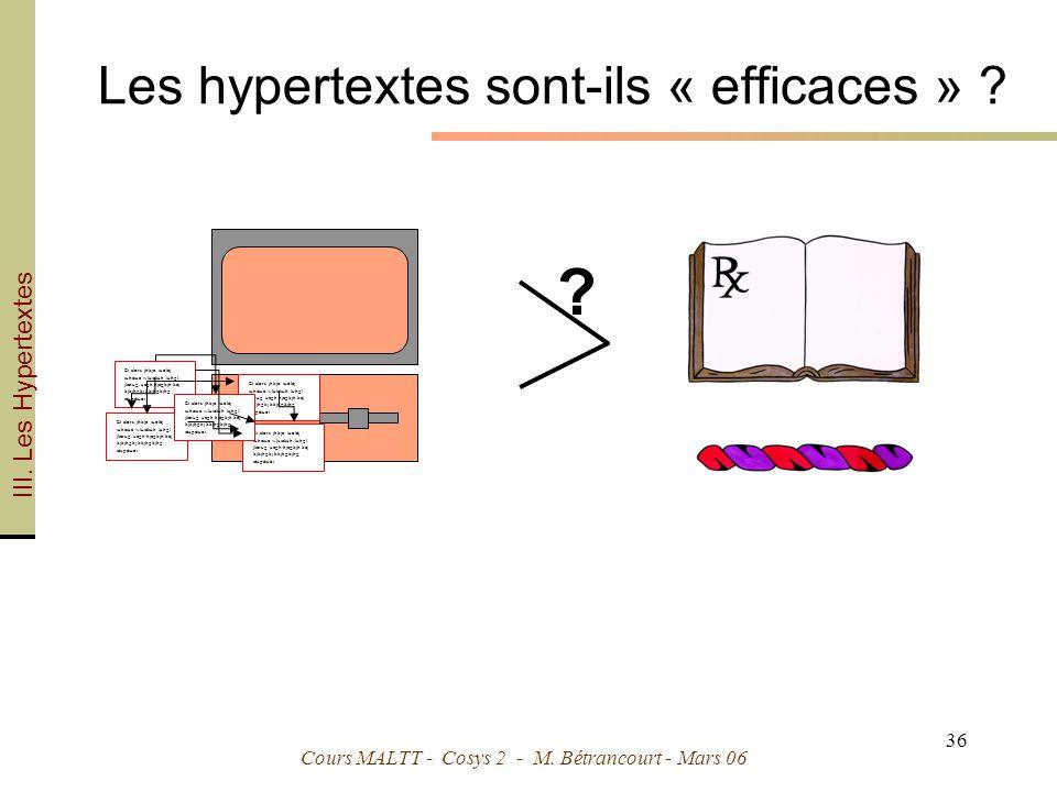 Les hypertextes sont-ils « efficaces »