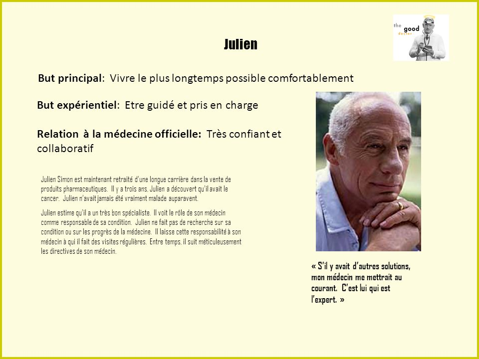 Julien But principal: Vivre le plus longtemps possible comfortablement
