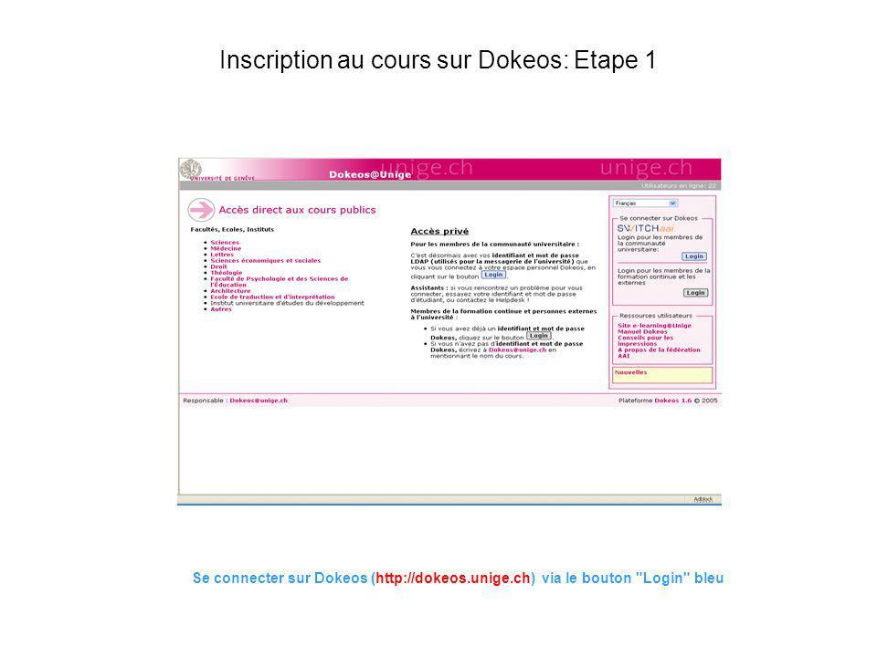 Inscription au cours sur Dokeos: Etape 1