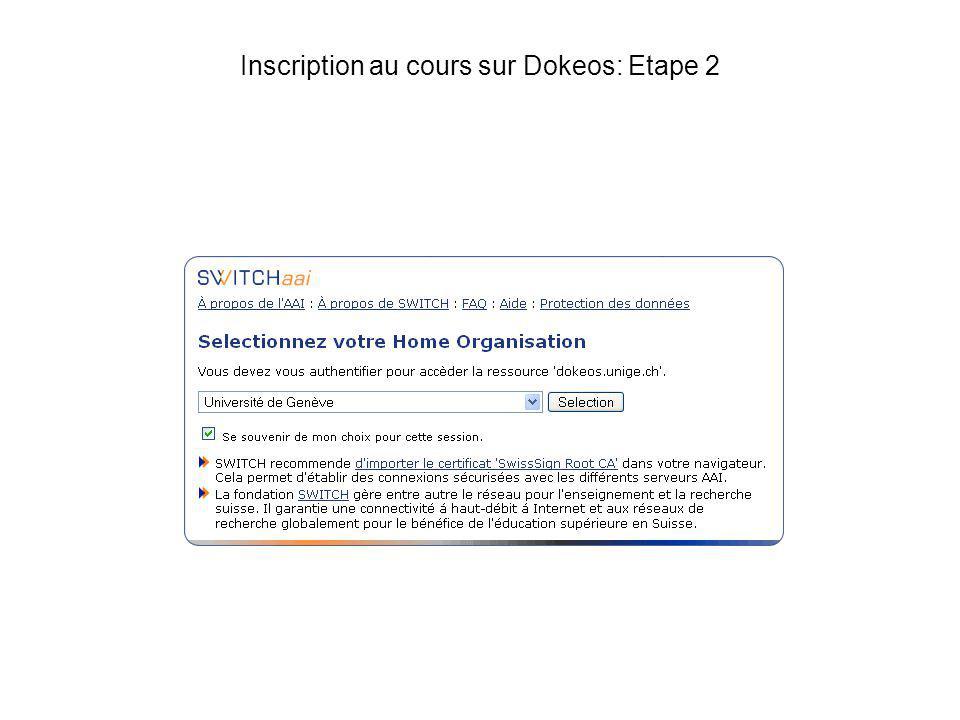 Inscription au cours sur Dokeos: Etape 2