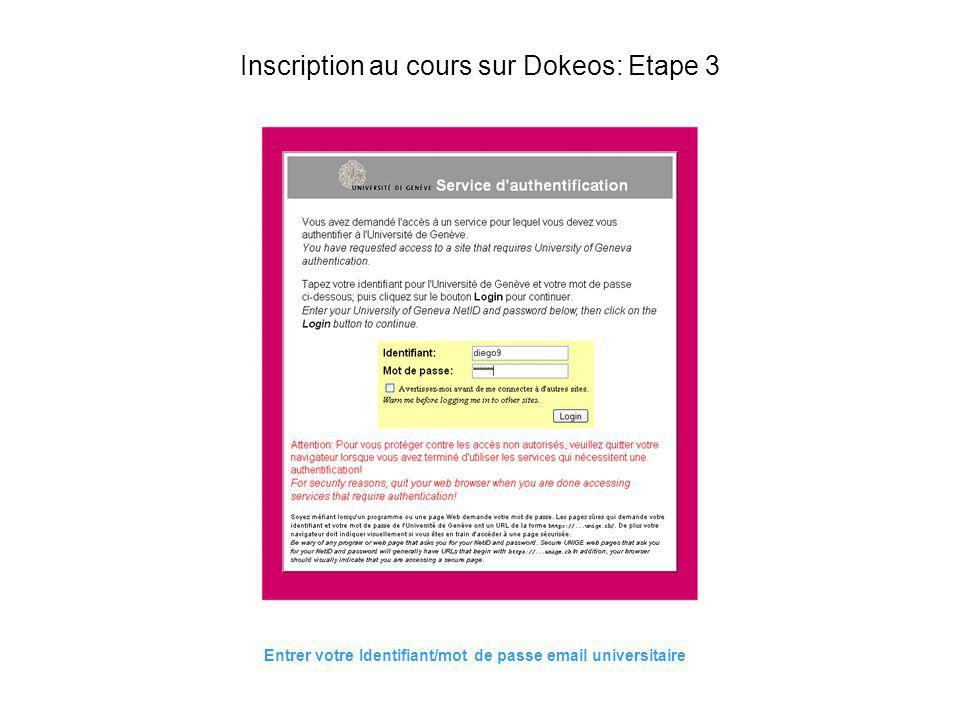 Inscription au cours sur Dokeos: Etape 3