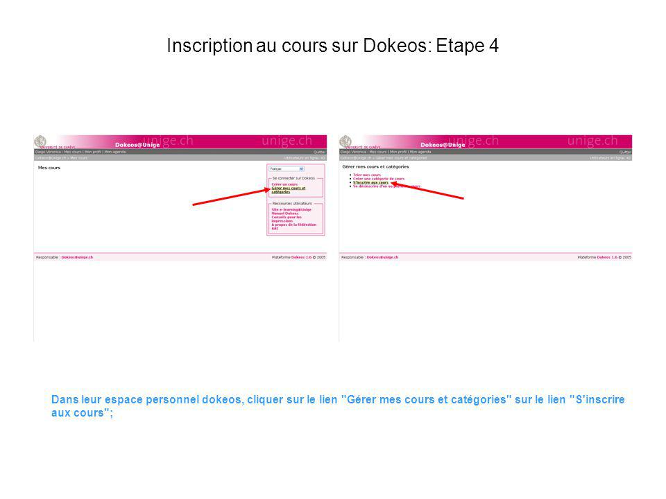 Inscription au cours sur Dokeos: Etape 4