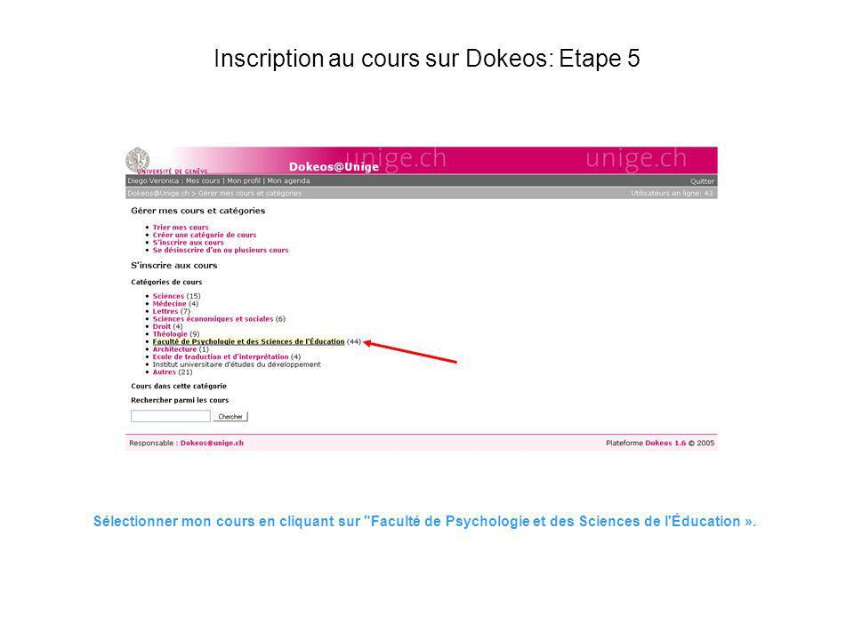 Inscription au cours sur Dokeos: Etape 5