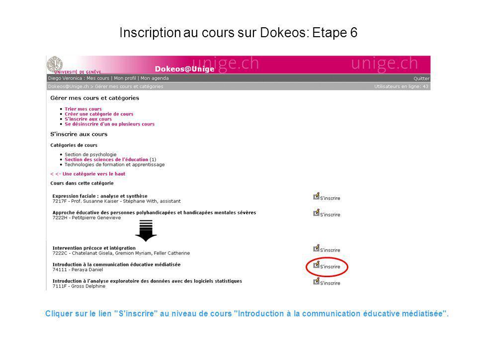 Inscription au cours sur Dokeos: Etape 6