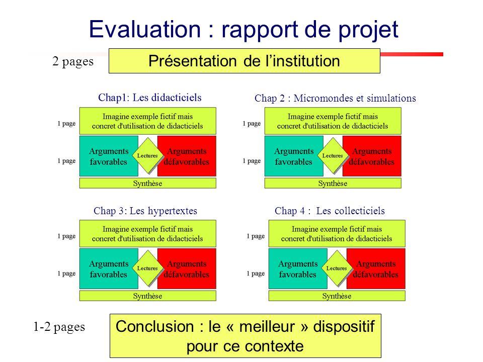 Evaluation : rapport de projet