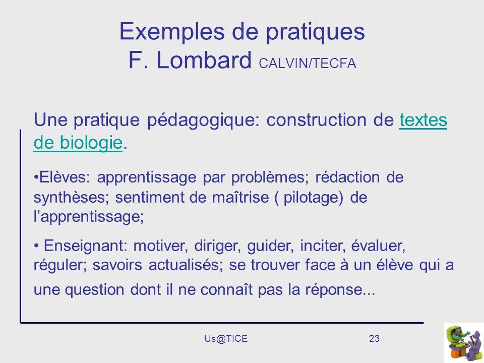 Exemples de pratiques F. Lombard CALVIN/TECFA