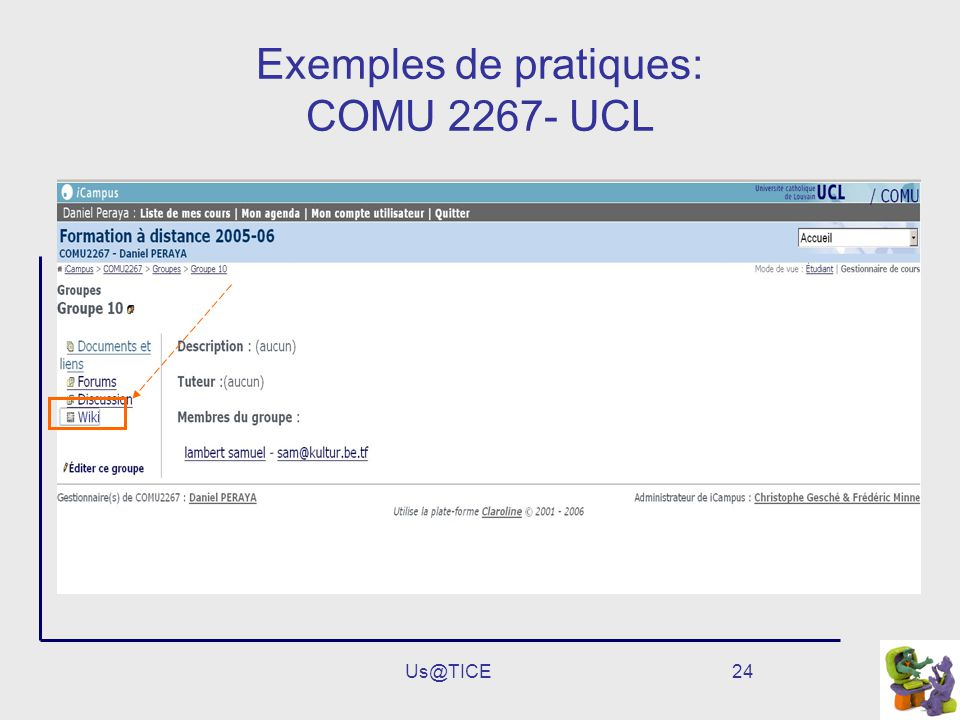 Exemples de pratiques: COMU 2267- UCL