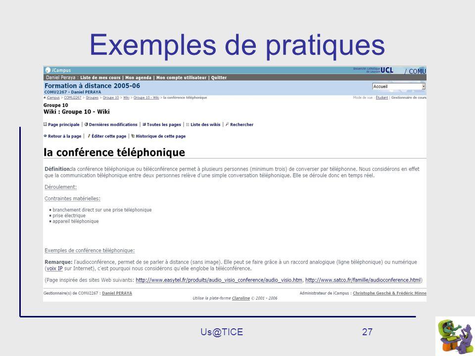 Exemples de pratiques Us@TICE
