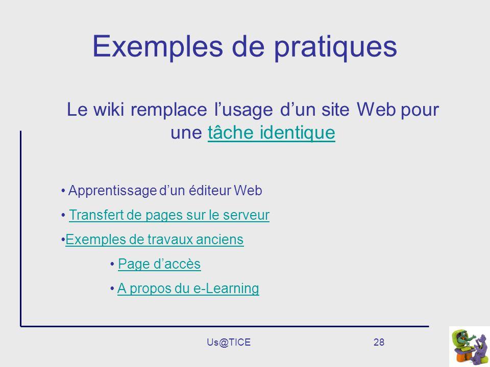 Le wiki remplace l'usage d'un site Web pour une tâche identique