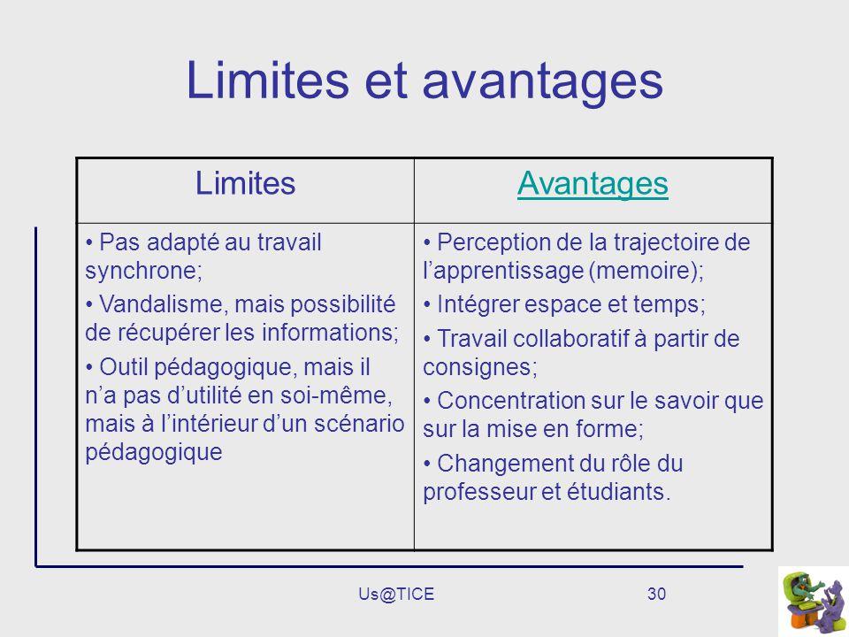 Limites et avantages Limites Avantages