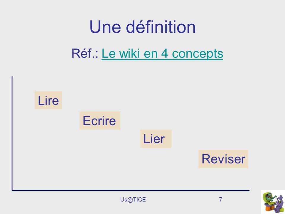 Une définition Réf.: Le wiki en 4 concepts Lire Ecrire Lier Reviser