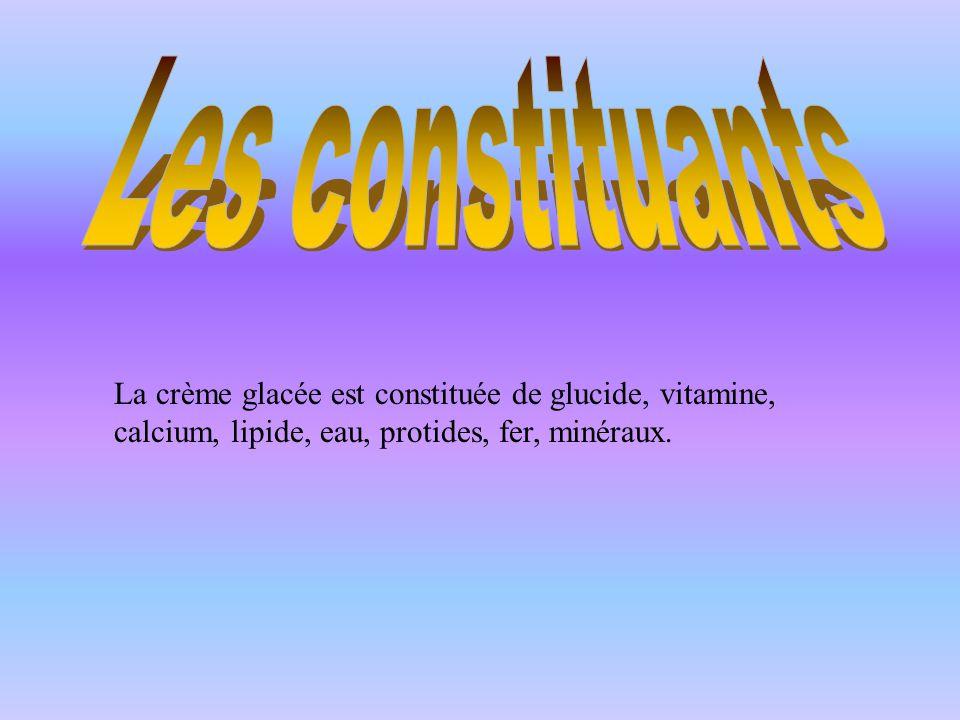 Les constituants La crème glacée est constituée de glucide, vitamine, calcium, lipide, eau, protides, fer, minéraux.