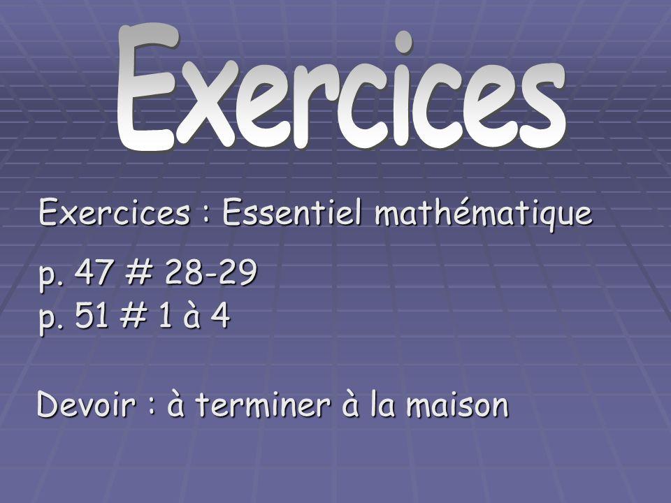 Exercices Exercices : Essentiel mathématique p. 47 # 28-29