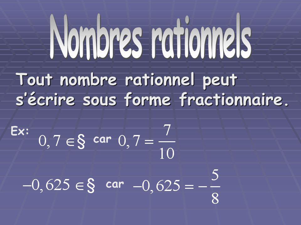 Nombre rationnels Nombres rationnels. Tout nombre rationnel peut s'écrire sous forme fractionnaire.