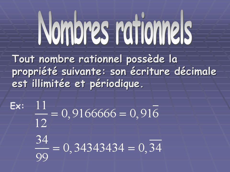 Nombre rationnels Nombres rationnels. Tout nombre rationnel possède la propriété suivante: son écriture décimale est illimitée et périodique.