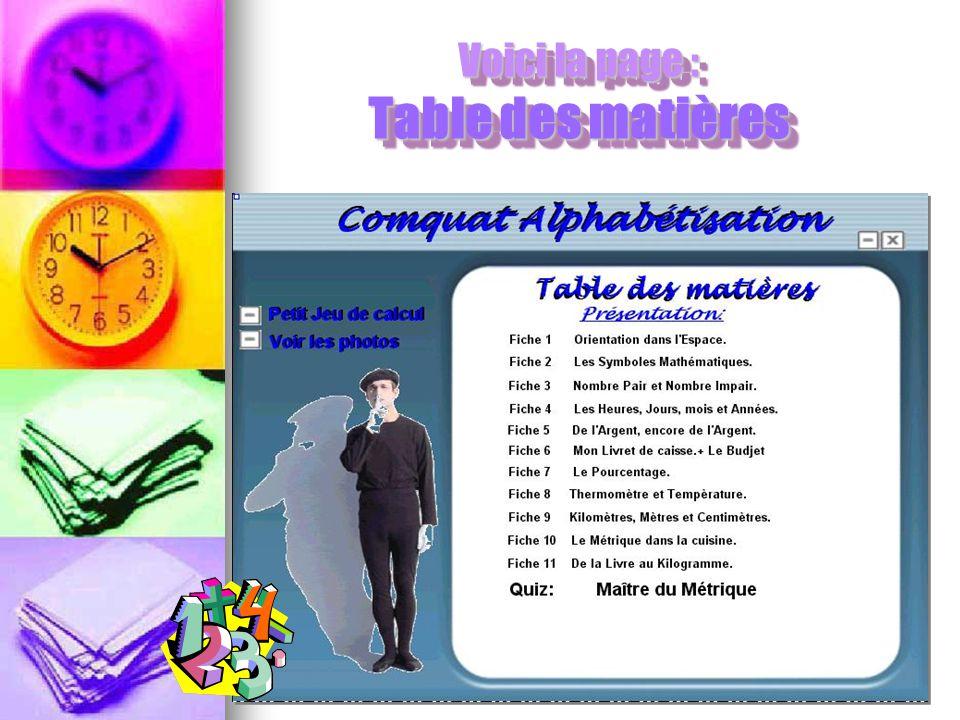 Voici la page : Table des matières