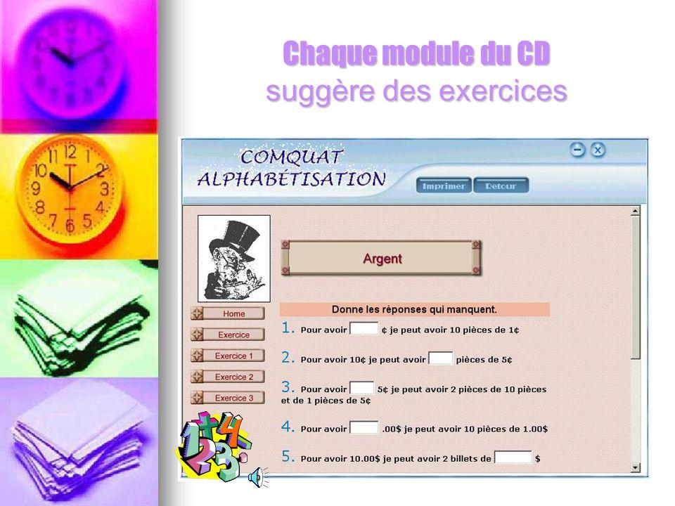 Chaque module du CD suggère des exercices