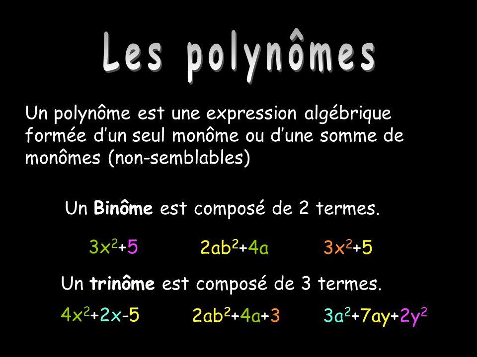 Les polynômes Les polynômes. Un polynôme est une expression algébrique formée d'un seul monôme ou d'une somme de monômes (non-semblables)
