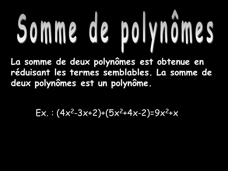 Somme de polynômes Somme de polynômes