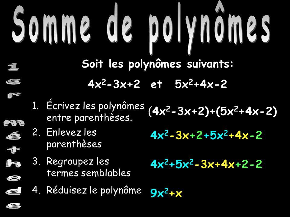 Soit les polynômes suivants: