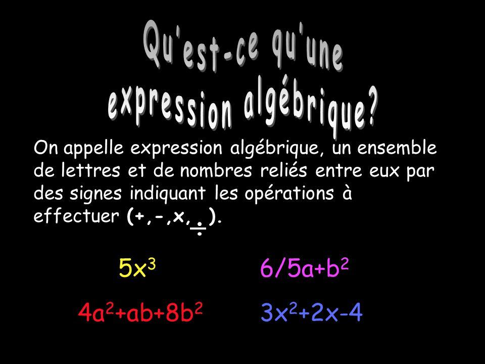 Qu'est-ce qu'une expression algébrique