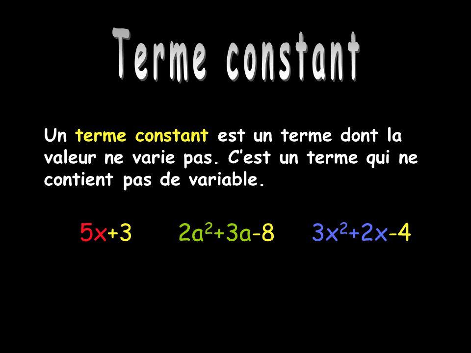 Terme constant 5x+3 2a2+3a-8 3x2+2x-4