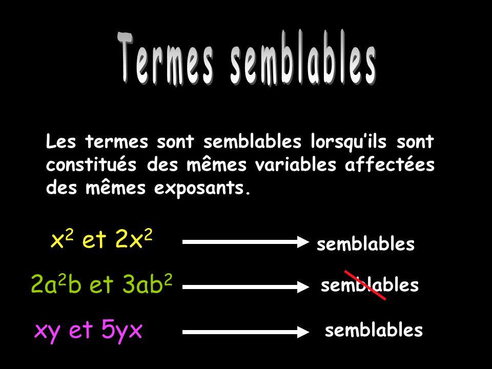 Termes semblables x2 et 2x2 2a2b et 3ab2 xy et 5yx