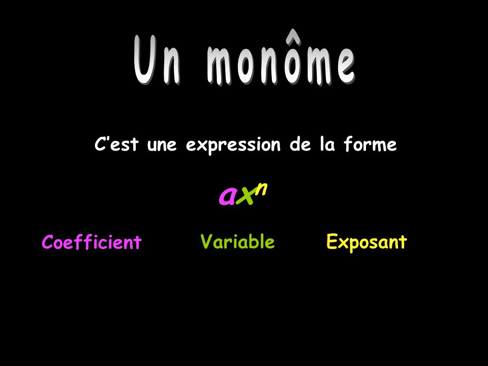 Un monôme axn C'est une expression de la forme Coefficient Variable