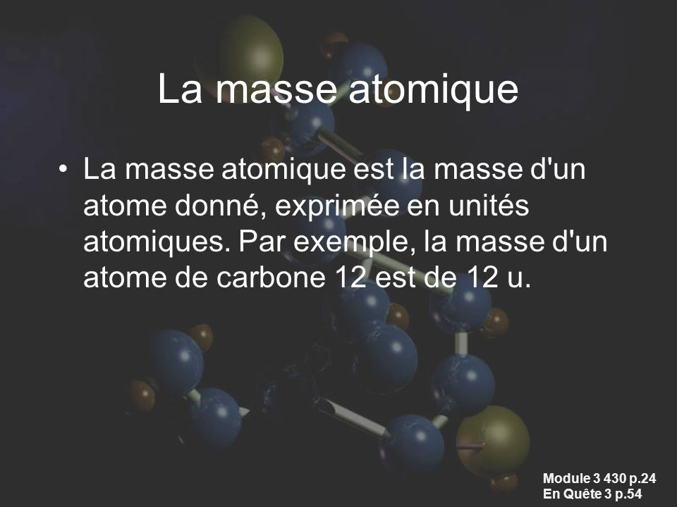 La masse atomique