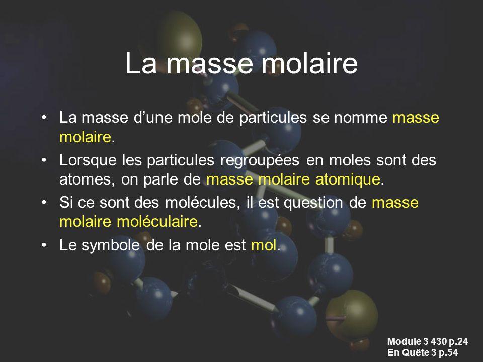 La masse molaire La masse d'une mole de particules se nomme masse molaire.