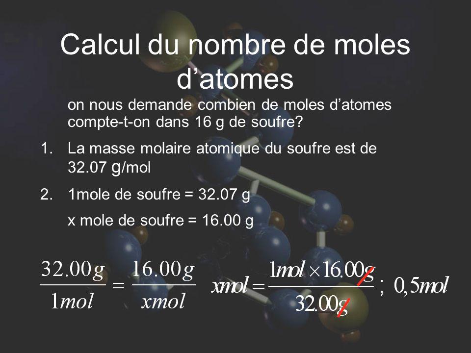 Calcul du nombre de moles d'atomes