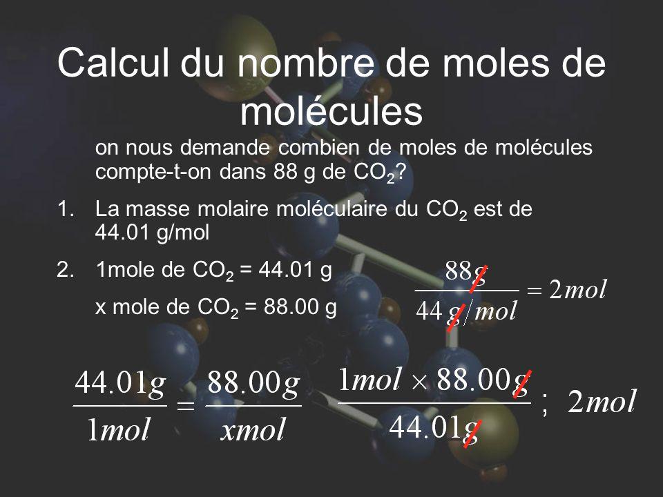 Calcul du nombre de moles de molécules