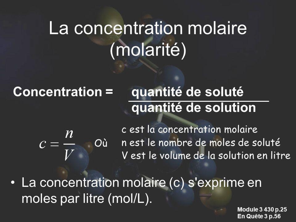 La concentration molaire (molarité)