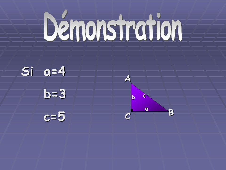 Démonstration Démonstration Si a=4 b=3 c=5 A C B a b c