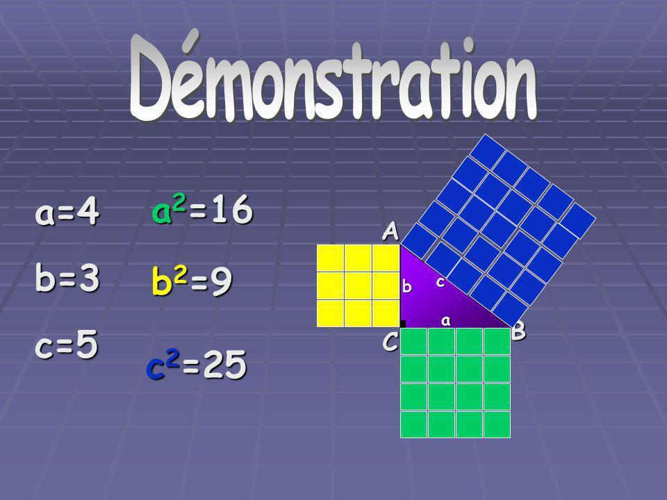 Démonstration Démonstration a=4 b=3 c=5 a2=16 A b2=9 c b a B C c2=25
