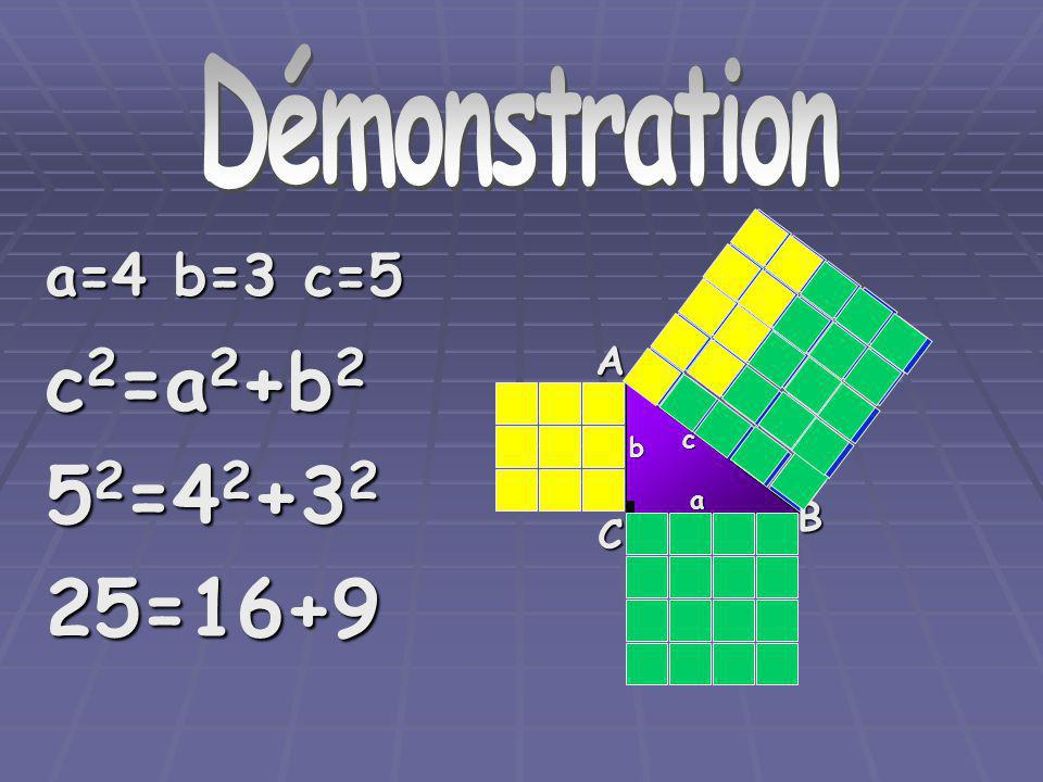 Démonstration c2=a2+b2 52=42+32 25=16+9 a=4 b=3 c=5 A B C c b a