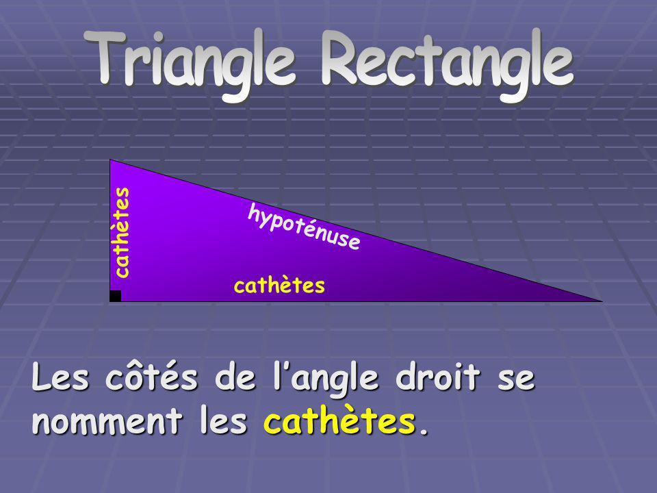 Triangle Rectangle Les côtés de l'angle droit se nomment les cathètes.