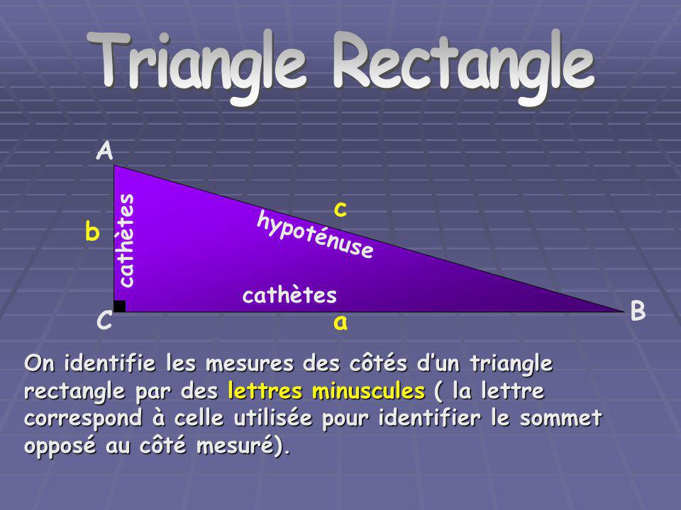 Triangle Rectangle A c b B C a cathètes hypoténuse cathètes