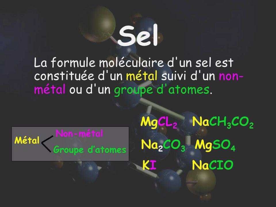 Sel La formule moléculaire d un sel est constituée d un métal suivi d un non-métal ou d un groupe d atomes.