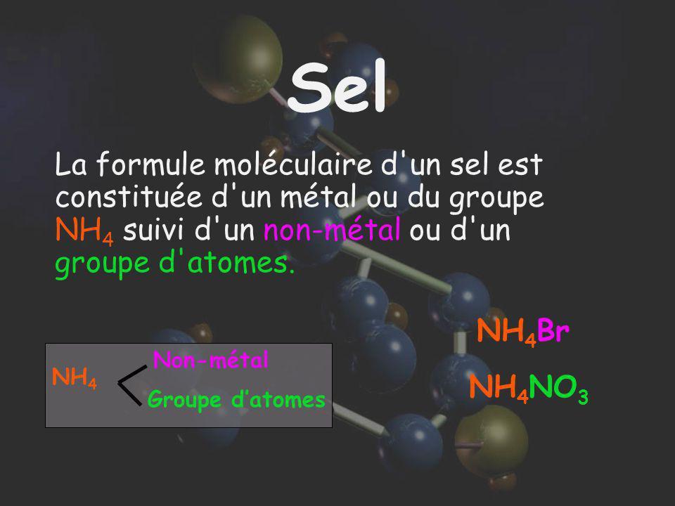 Sel La formule moléculaire d un sel est constituée d un métal ou du groupe NH4 suivi d un non-métal ou d un groupe d atomes.