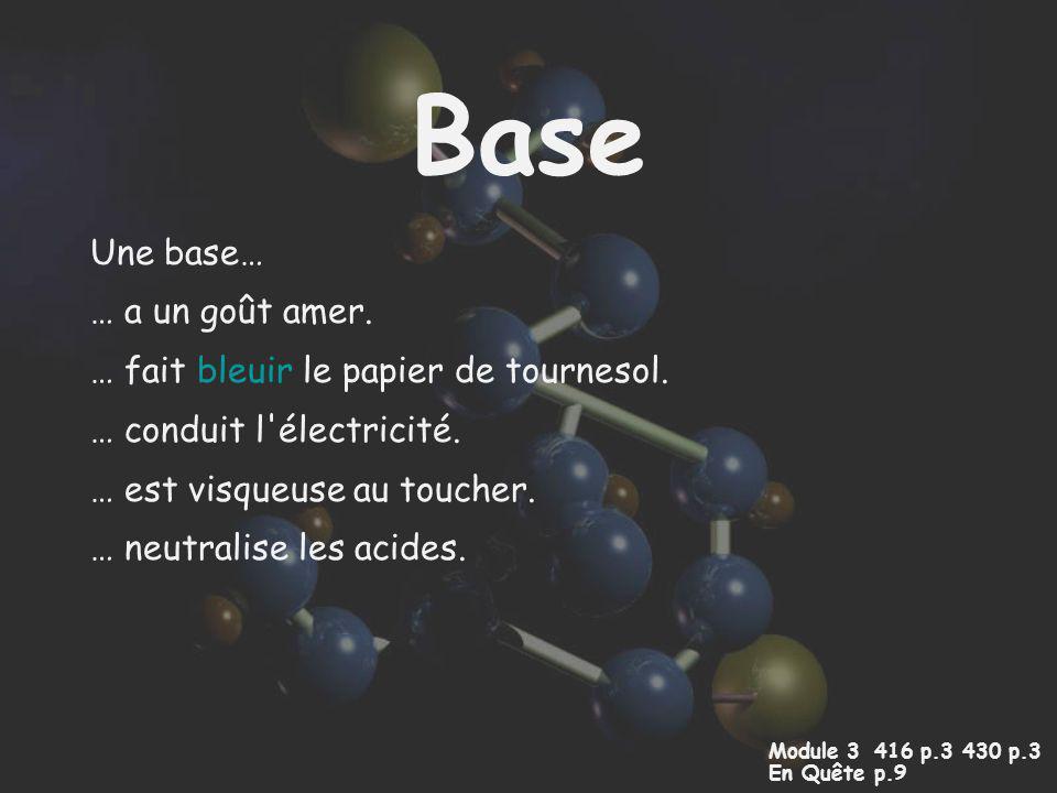 Base Une base… … a un goût amer. … fait bleuir le papier de tournesol.