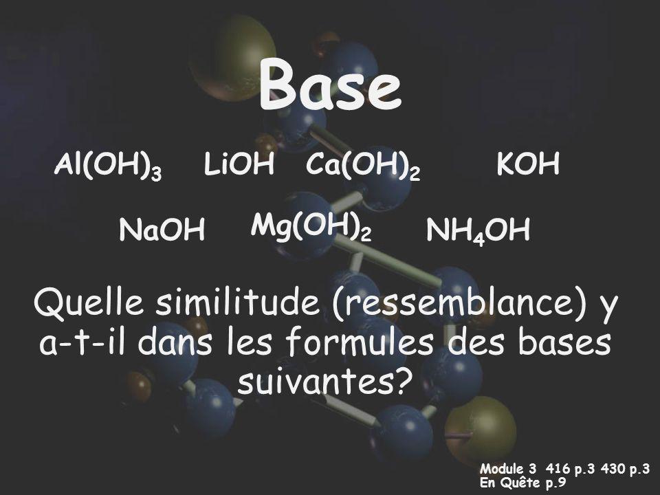 Base Al(OH)3. LiOH. Ca(OH)2. KOH. Mg(OH)2. NaOH. NH4OH. Quelle similitude (ressemblance) y a-t-il dans les formules des bases suivantes