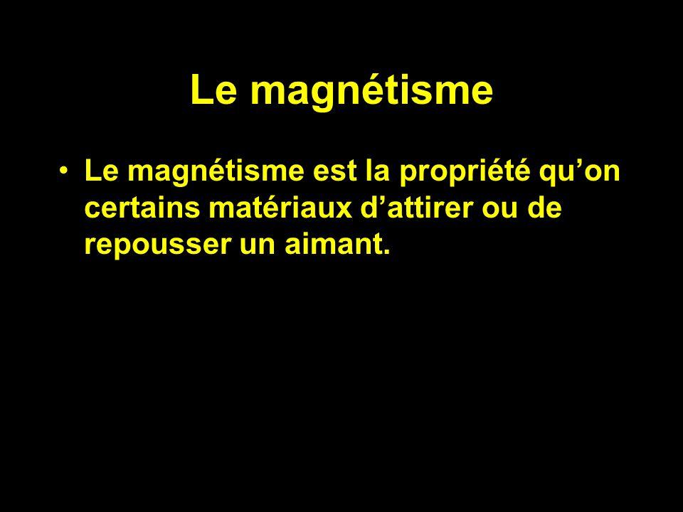 Le magnétisme Le magnétisme est la propriété qu'on certains matériaux d'attirer ou de repousser un aimant.