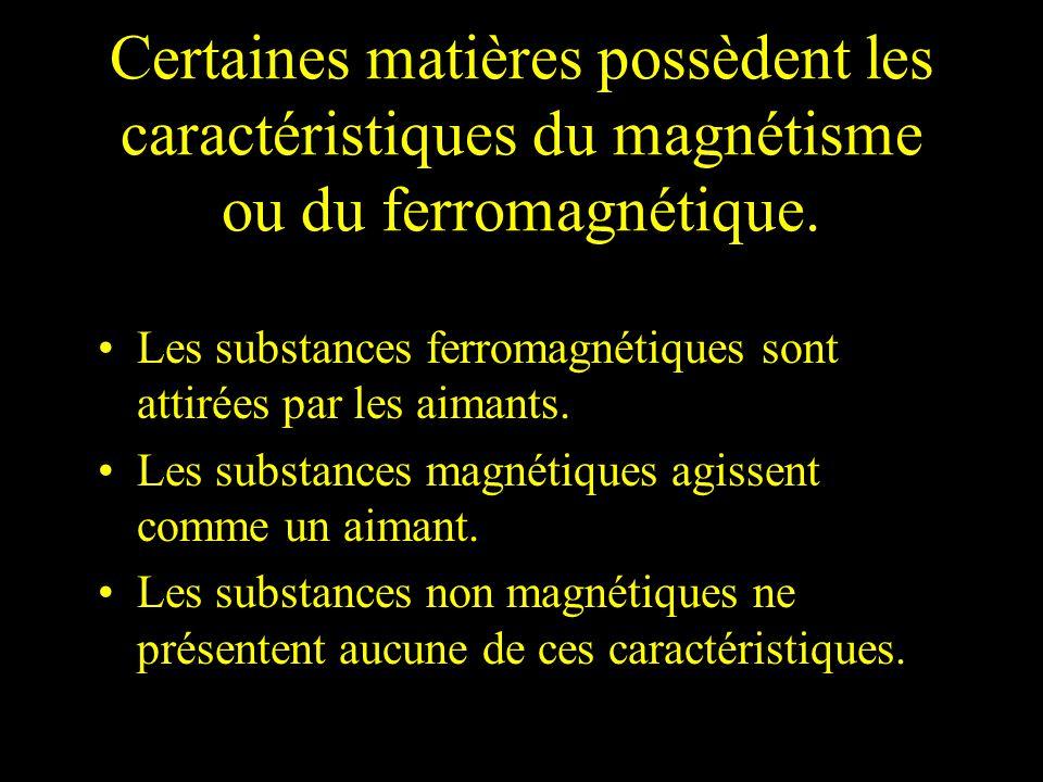 Certaines matières possèdent les caractéristiques du magnétisme ou du ferromagnétique.
