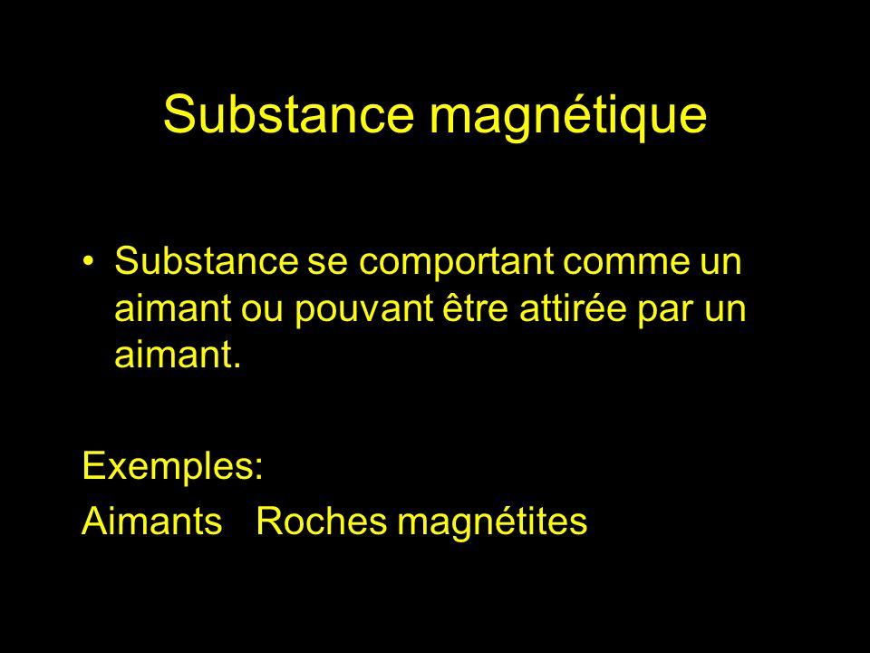 Substance magnétique Substance se comportant comme un aimant ou pouvant être attirée par un aimant.