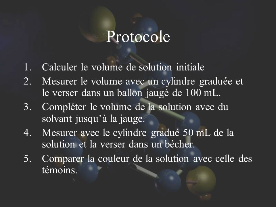 Protocole Calculer le volume de solution initiale