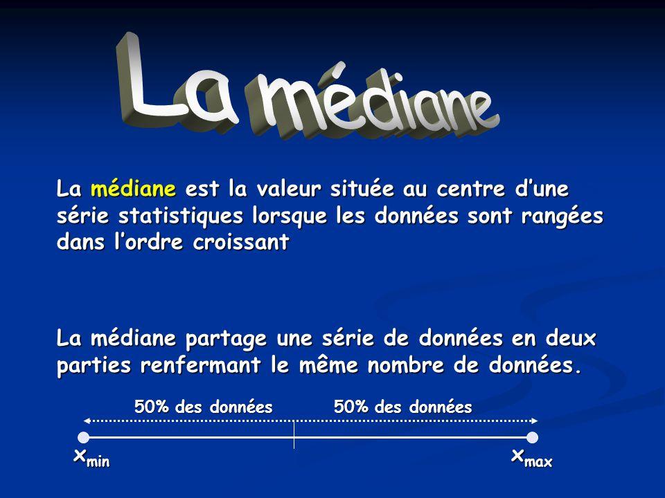 La médiane La médiane. La médiane est la valeur située au centre d'une série statistiques lorsque les données sont rangées dans l'ordre croissant.